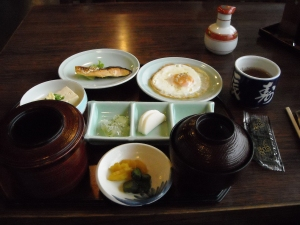 A traditional Japanese breakfast.  Rice in the left, Soup on the right