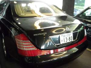 A Maybach parked in front of the hotel